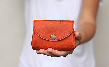 Peňaženky - Korková hramoniková peňaženka - oranžová - 11263900_