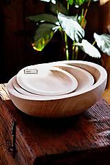 Nádoby - Set drevených lipových mís natural - 11264408_