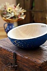 Nádoby - Veľká drevená lipová misa modrá zdobená - 11265711_