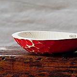 Nádoby - Drevená lipová miska červená zdobená (stredná) - 11265753_