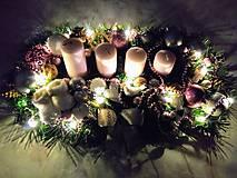 """Svietidlá a sviečky - Adventný svietnik LED """"ružový lux"""" - 11266440_"""