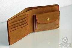 Tašky - Kožená peňaženka VI. hnedá - 11265300_
