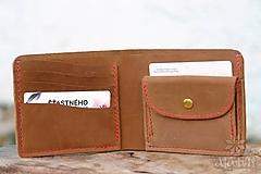 Tašky - Kožená peňaženka VI. hnedá - 11265303_