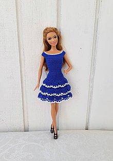 Hračky - Modré háčkované šaty pre Barbie - 11267720_