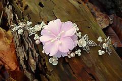 Ozdoby do vlasov - vlasová ozdoba, venček, čelenka - ivory + ružový kvet - 11265583_