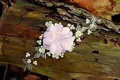Ozdoby do vlasov - vlasová ozdoba, venček, čelenka - ivory + ružový kvet - 11265585_