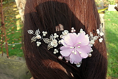 Ozdoby do vlasov - vlasová ozdoba, venček, čelenka - ivory + ružový kvet - 11265586_