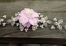 Ozdoby do vlasov - vlasová ozdoba, venček, čelenka - ivory + ružový kvet - 11265587_