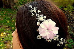 Ozdoby do vlasov - vlasová ozdoba, venček, čelenka - ivory + ružový kvet - 11265588_