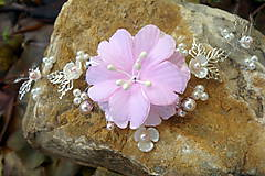 Ozdoby do vlasov - vlasová ozdoba, venček, čelenka - ivory + ružový kvet - 11265589_