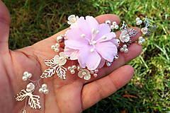 Ozdoby do vlasov - vlasová ozdoba, venček, čelenka - ivory + ružový kvet - 11265591_