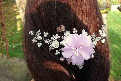 vlasová ozdoba, venček, čelenka - ivory + ružový kvet