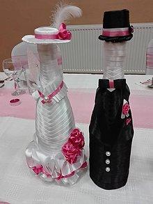 Iné doplnky - Svadobne vyzdobené fľaše na sekt - 11265630_
