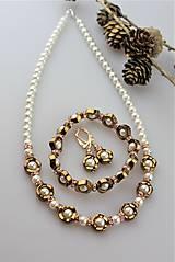 Sady šperkov - hematit a perly náramok , náušnice a náhrdelník - 11267970_