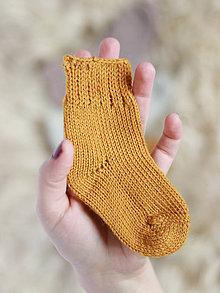 Topánočky - Pletené vlnené ponožky (0-6mes (7-10cm nôžka) - Oranžová) - 11264057_