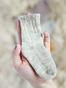 Topánočky - Pletené vlnené ponožky (6-12 mesiacov (10-12cm nožka) - Šedá) - 11264078_