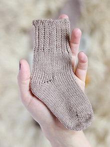 Topánočky - Pletené vlnené ponožky (6-12 mesiacov (10-12cm nožka) - Béžová) - 11264134_
