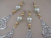 Dekorácie - Šperková dekorácia na stromček - zlatá/strieborná/bledozelená - 4 ks - 11263885_