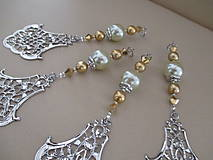 Dekorácie - Šperková dekorácia na stromček - zlatá/strieborná/bledozelená - 4 ks - 11263918_