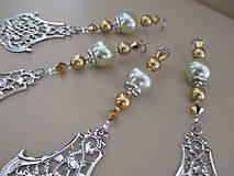 Dekorácie - Šperková dekorácia na stromček - zlatá/strieborná/bledozelená - 4 ks - 11263920_