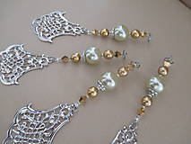 Dekorácie - Šperková dekorácia na stromček - zlatá/strieborná/bledozelená - 4 ks - 11263922_