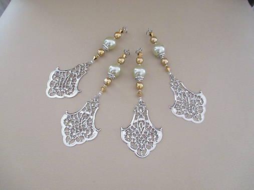 Šperková dekorácia na stromček - zlatá/strieborná/bledozelená - 4 ks