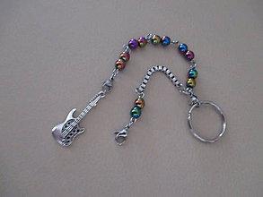 Kľúčenky - Kľúčenka - GITARA - s dúhovým hematitom - 11263345_