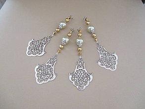 Dekorácie - Šperková dekorácia na stromček - zlatá/strieborná/bledozelená - 4 ks - 11263872_