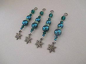 Dekorácie - Šperková dekorácia na stromček - snehová vločka - tmavozelená - 4 ks - 11263954_