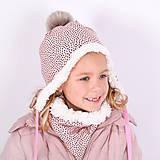 Detské čiapky - Ušianka -irregular dots pink - 11267850_