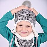Detské čiapky - Ušianka -irregular dots grey - 11267873_
