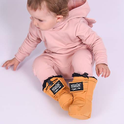 Detské softshell topánočky - okrová