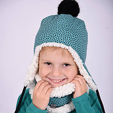 Detské čiapky - Ušianka -irregular dots petrol - 11267865_
