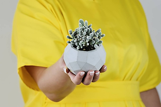 Nádoby - Betónový kvetináč Rhombico (M - šedý) - 11263834_