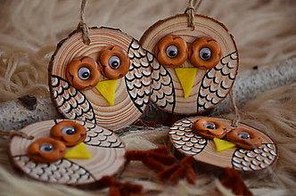 Dekorácie - Sovičky (Béžová, drevené oči) - 11267392_