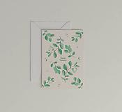 Papiernictvo - Vianočná akvarelová pohľadnica | botanická ilustrácia Imelovník - 11264559_