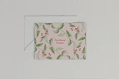 Papiernictvo - Vianočná akvarelová pohľadnica | botanická ilustrácia Cezmína - 11264659_