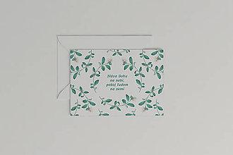 Papiernictvo - Vianočná akvarelová pohľadnica | botanická ilustrácia Brusnice - 11266077_