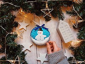 Dekorácie - Vianočná ozdoba - snehuliak - 11264763_