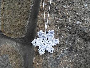 Dekorácie - Háčkovaná snehová vločka - vianočná dekorácia - biela - 1ks - 11266335_