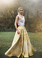 Sukne - SLAVENA - potlač BAROKOVÝ ORNAMENT (zlatá) - 11263341_