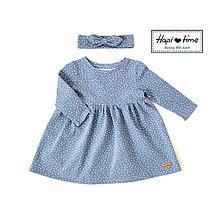 Detské oblečenie - Bodkové šatočky v modrej farbe - 11265371_