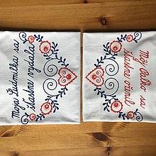 """Tričká - Maľované tričká pre mladomanželov s ľudovým motívom a nápismi : (""""Moja (meno) sa šťastne vydala"""" alebo na želanie) - 11264811_"""