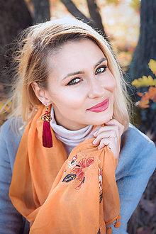 Náušnice - Dlhé strapcové náušnice bordové / tassel earrings - 11265358_