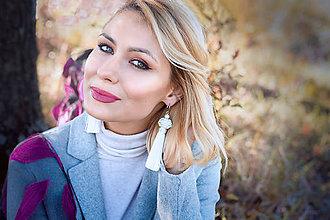 Náušnice - Dlhé strapcové náušnice biele / tassel earrings - 11265386_