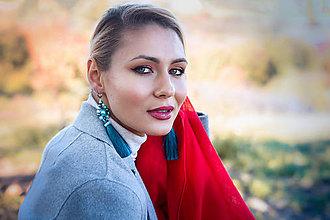 Náušnice - Modré strapcové náušnice / tassel earrings - 11265398_