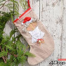 Dekorácie - Vianočná ponožka (Vianočná ponožka Anjelik) - 11264564_