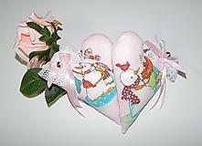 Dekorácie - Ružové srdiečka so snehuliakmi - 11266060_