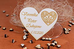 Darčeky pre svadobčanov - Drevená svadobná magnetka Ľudový motív 23 - 11264099_