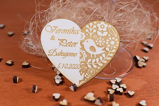 Drevená svadobná magnetka Ľudový motív 25